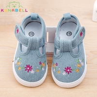 Children Girls New Causal Canvas Shoes Baby Girls Hook Breathable Embroidery Flower Shoes Tolddlers Sneakers C127