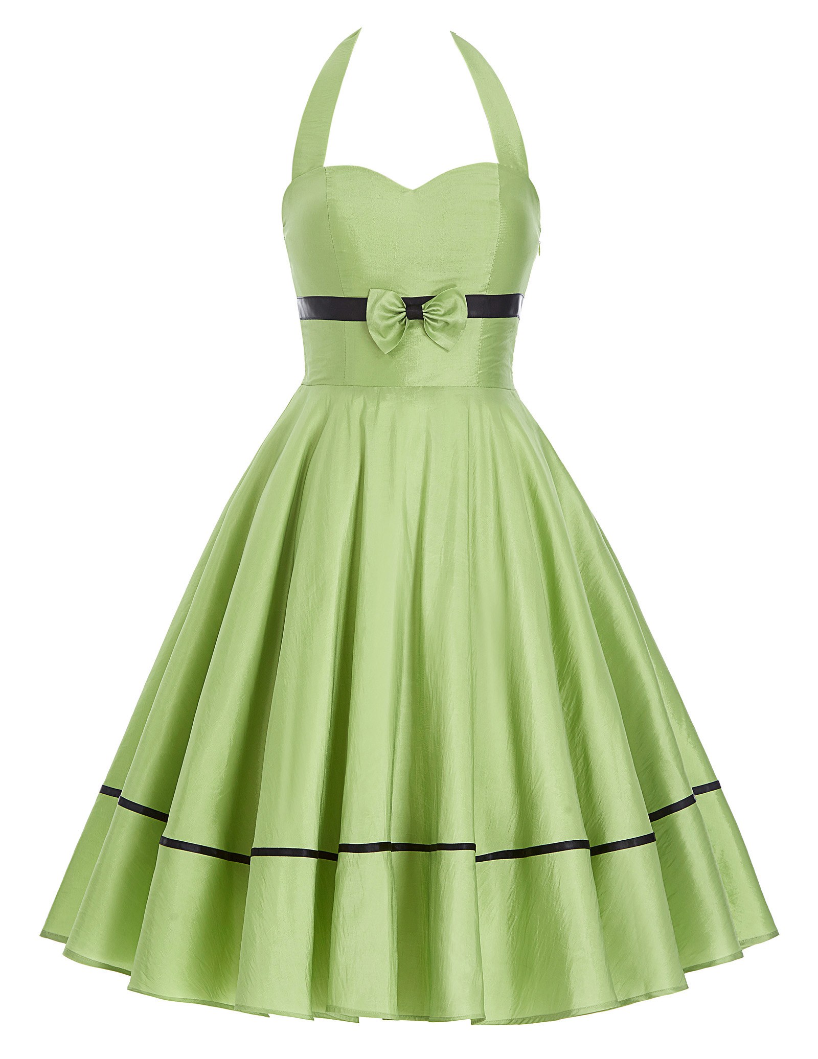 summer dress women Stock Retro 50s 60s Vintage Bow-Knot Decorated Halter N/T Taffeta Party Picnic a line Dress business office