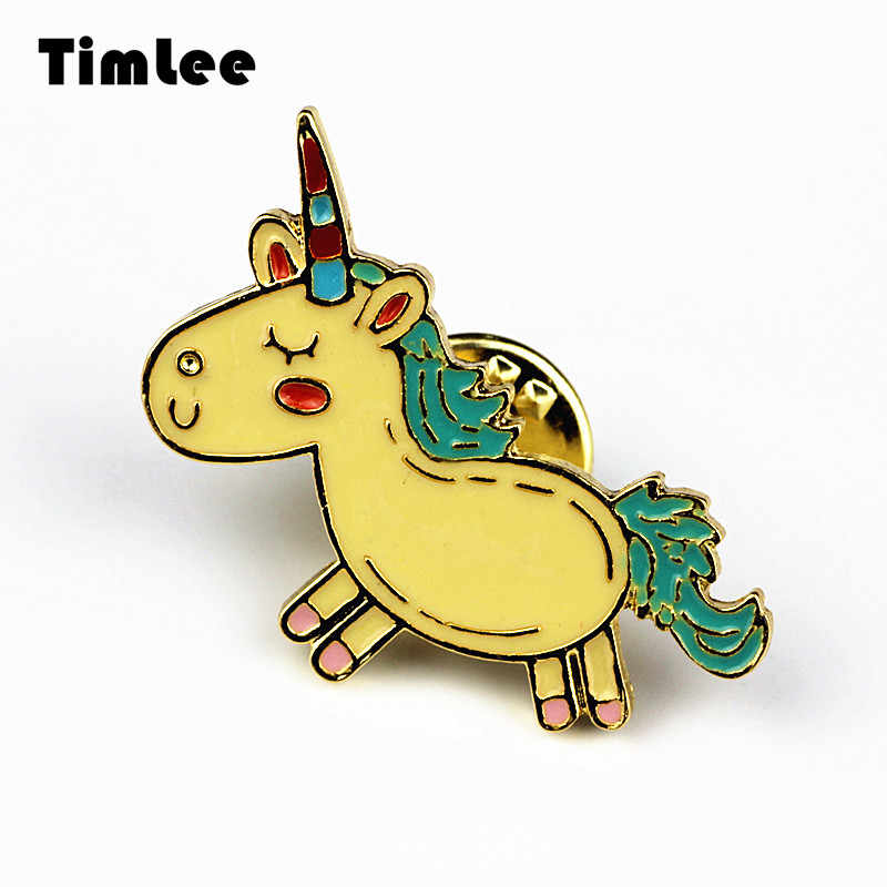 Timlee X223 Nuovo Fumetto Bello Animali Unicorn Metallo Pin Spilla Monili All'ingrosso