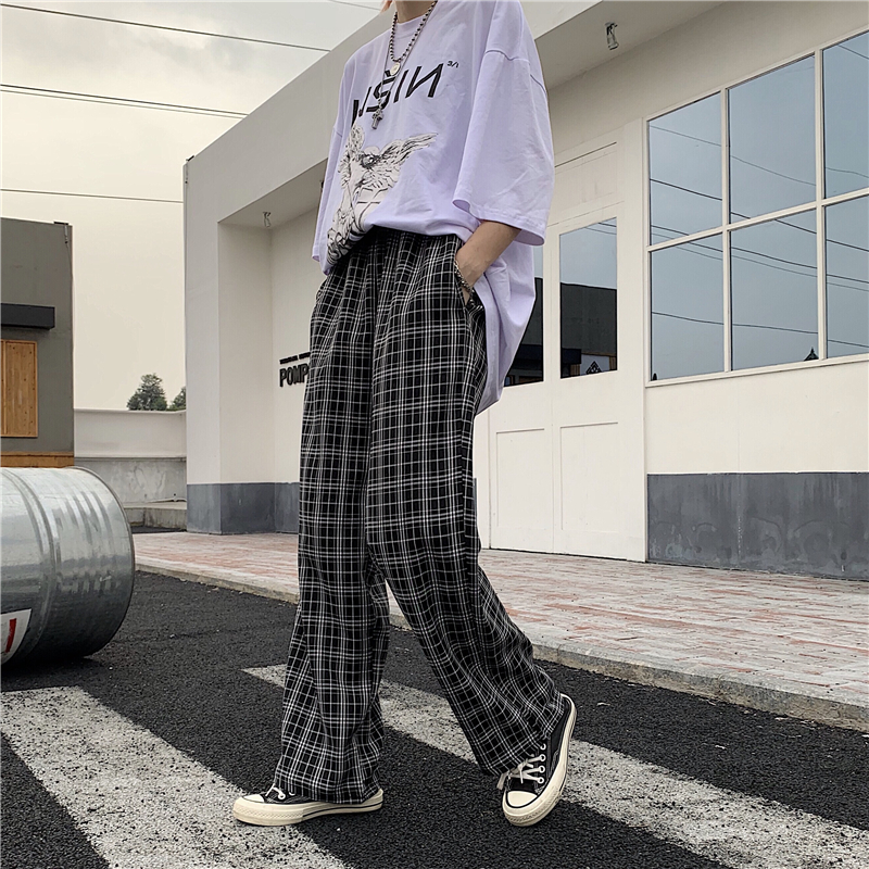 Vintage Harajuku Plaid   Pants   Women 2019 New Ins Popular High Waist Loose Casual Straight   Wide     Leg     Pants   for Female