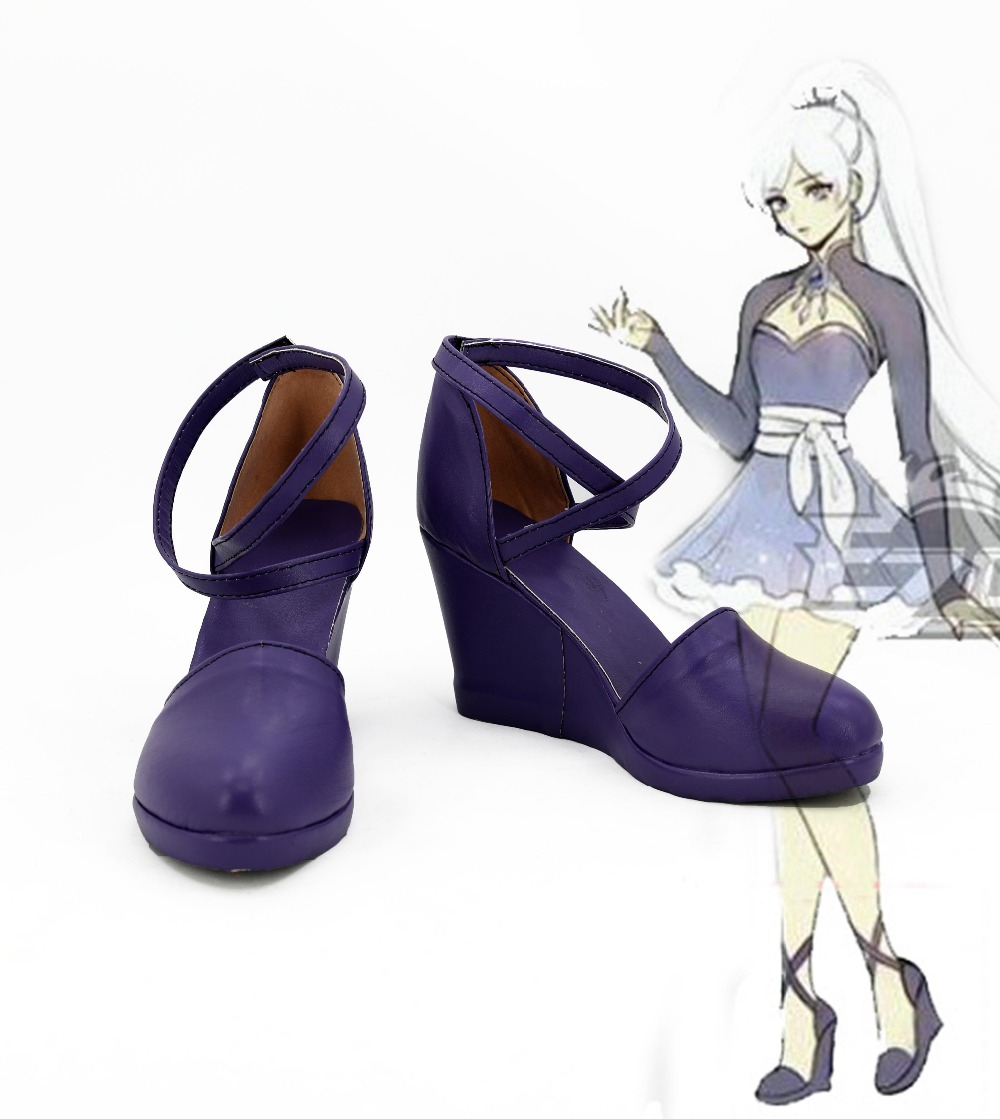 RWBY Weiss Schnee Cosplay Boots Anime Shoes For Women Girls For Christmas Hallowen Carnival Hot Sale