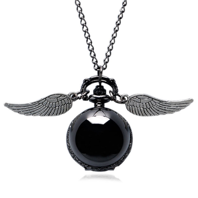 Cool Black Snitch Pocket watch Stainless Steel Round with Necklace Chain for You