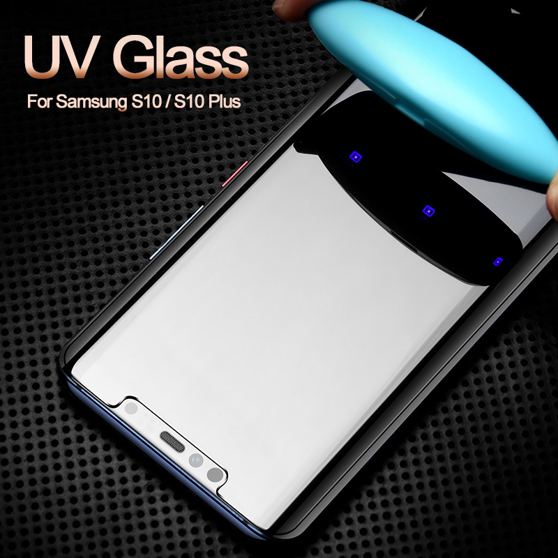 for Samsung S10 Plus s10 5G Screen Protector UV Liquid Curved Full Glue for Galaxy s7 s6 edge s8 s9 plus note 8 9 tempered glass in Phone Screen Protectors from Cellphones Telecommunications