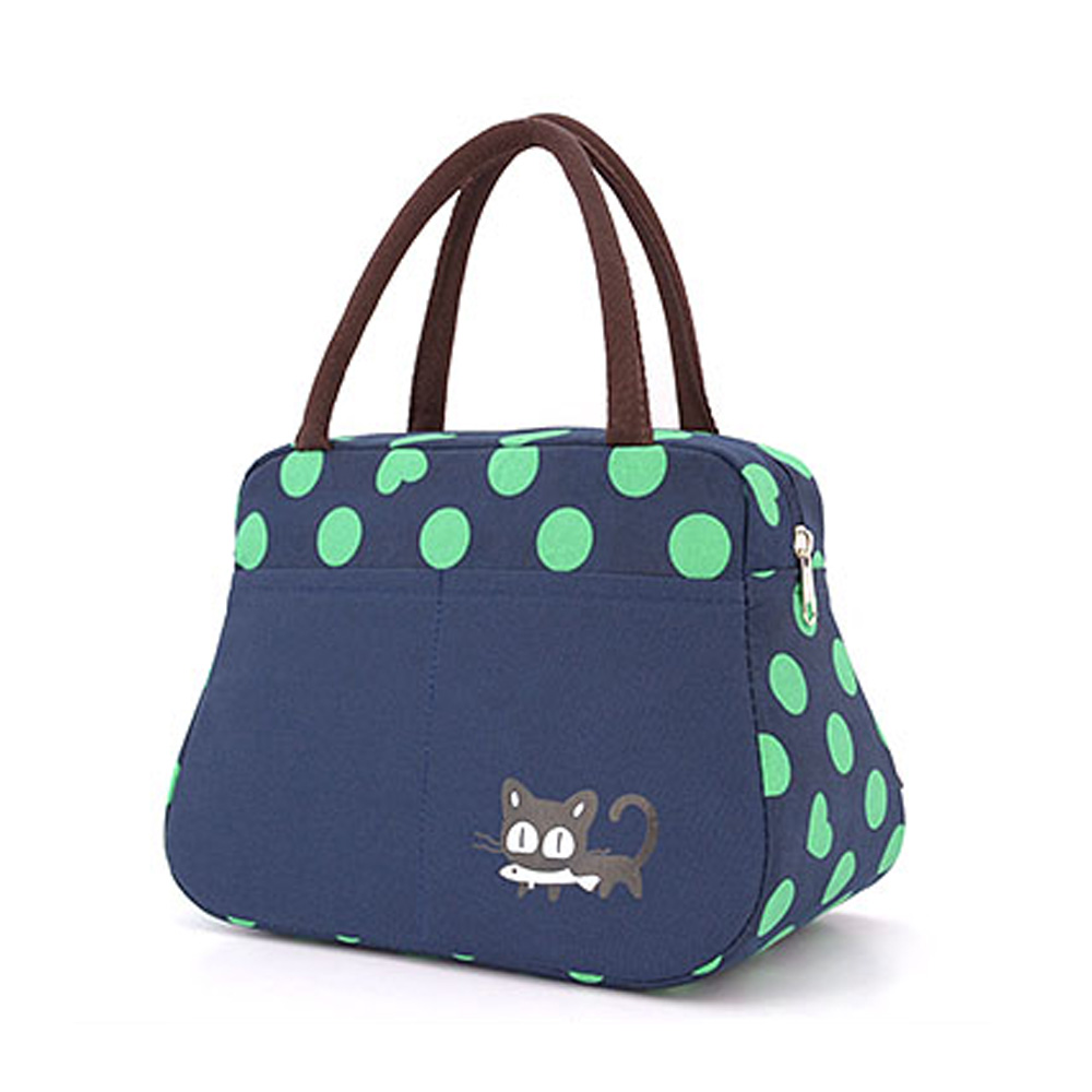 Small Portable Container Dot Thermische Lunchbag Insulated Canvas Lunch Bag for Women Sh ...