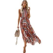 2019 Dress Women Rainbow Striped Print Maxi Sleeveless Boho Vestidos De Festa Clothes New Hot Sale Ddlg