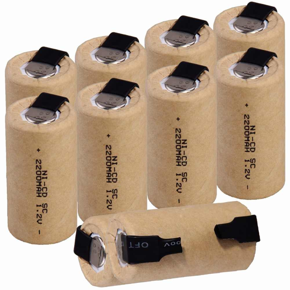 10 шт. SC 2200 мАч 1,2 В в батарея NICD аккумуляторы для makita bosch B & D Hitachi metabo dewalt электрическая отвертка