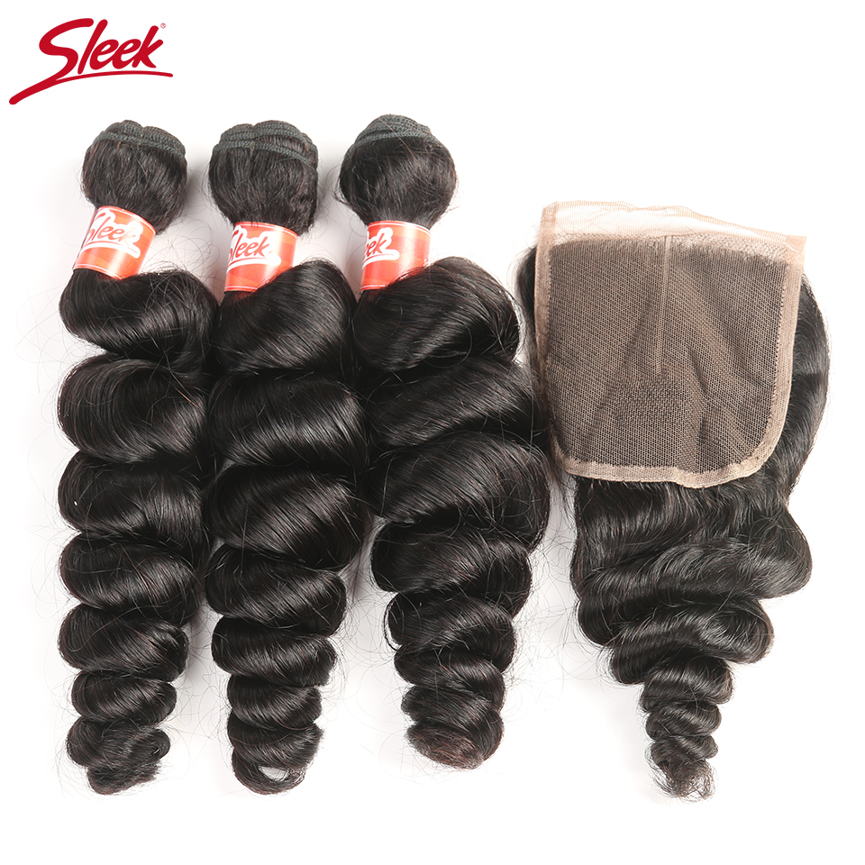 Sleek Brazilian Loose Wave Bundles With Closure 4 Pcs Natural Color Hair Weave Non Remy Human Hair 3 Bundles With Closure