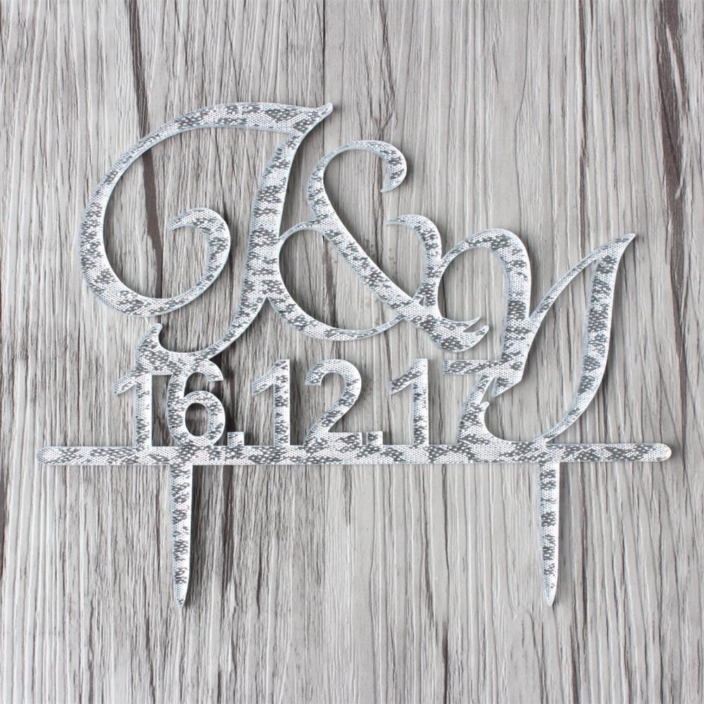 Acryl bruiloft decoratie aangepaste taart Toppers initialen taart - Feestversiering en feestartikelen - Foto 3