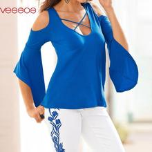 Women Female Solid Casual Off-Shoulder Cross Flare Sleeve Top Slim O-Neck Blouses Royal Blue S/M/L/XL Blusas Y Camisas Mujer