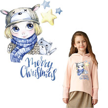 christmas girl iron patches for clothing thermal stickers on transfer t-shirt hoodies diy patch thermocollants vetement