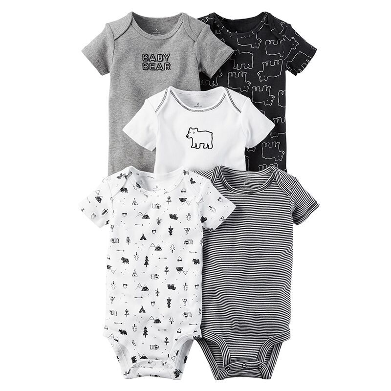 Baby Summer   Rompers   Short Sleeve Bear Baby Clothing Stripe Baby Boy   Romper   Set Infant Boy Clothes Newborn Baby Clothes 5pcs Suit