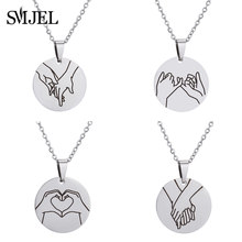 SMJEL Wedding Hand Gestures Necklace Engraved Sign Language I Love You Pinky Swear Okay Charm Necklaces Bridal jewelry Wholesale(China)