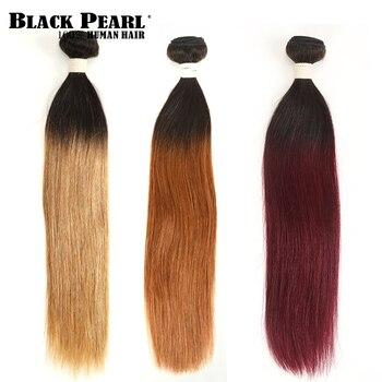 2 Tone kolor Ombre brazylijski pasma prostych włosów 1/3/4 sztuk nie Remy ludzki włosy 100% człowieka wiązki włosów T1B/ 27 # T1B/30 # T1B/99J #
