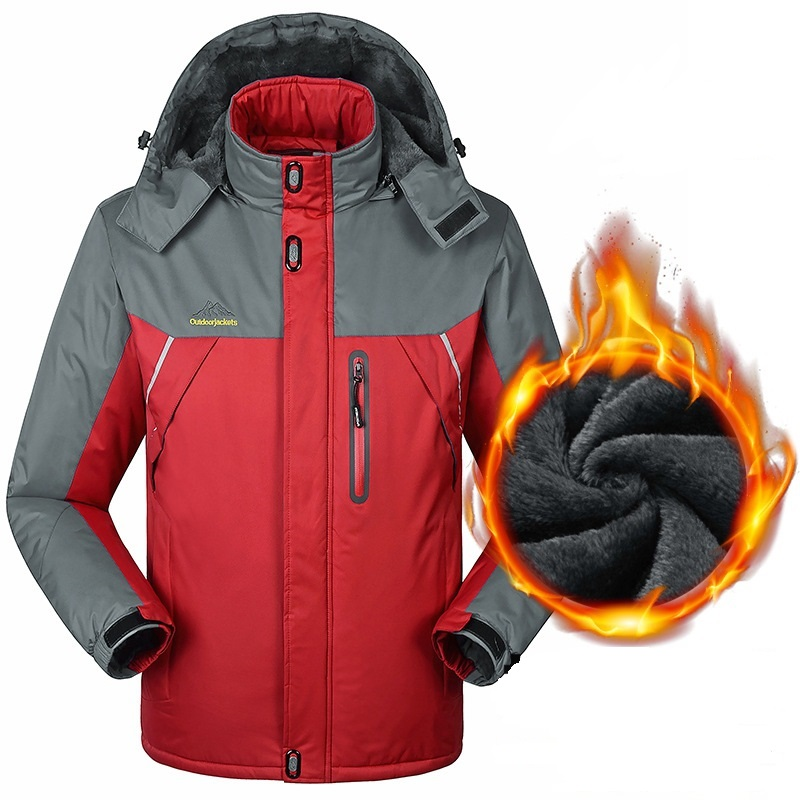 -30 C FIT Winter Warm Jacket Men Plus Velvet Parkas Coats <font><b>6XL</b></font> <font><b>7XL</b></font> 8XL <font><b>9XL</b></font> Waterproof Windproof Fleece Jackets Chaquetas Hombre image