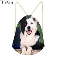 THIKIN Cute Border Collie Dog Print Backpack Women Girls Drawstring Bag Boy School Bags Soft Punch Pocket Travel Beach Bag 2019