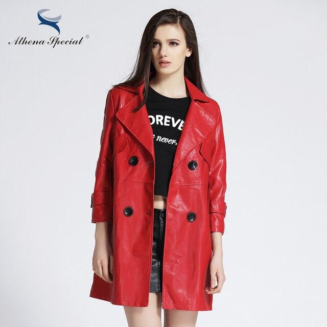 f7768df798b 2018 Athena Special Новый Дизайнер Траншеи Кожаное Пальто Для Женщин  Элегантные Женские Случайные PU Кожа Куртка