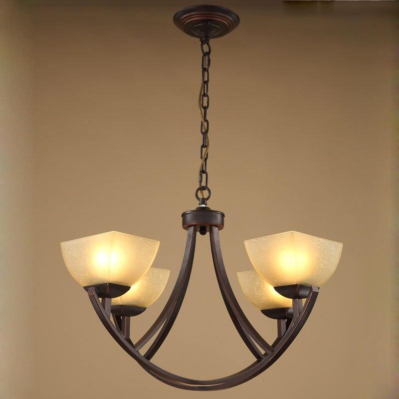 Vintage Chandelier Glass Lamp Ceiling Suppliers Living Room Hallway Stair Kitchen Light Black Iron Home Lighting E27 110 240V