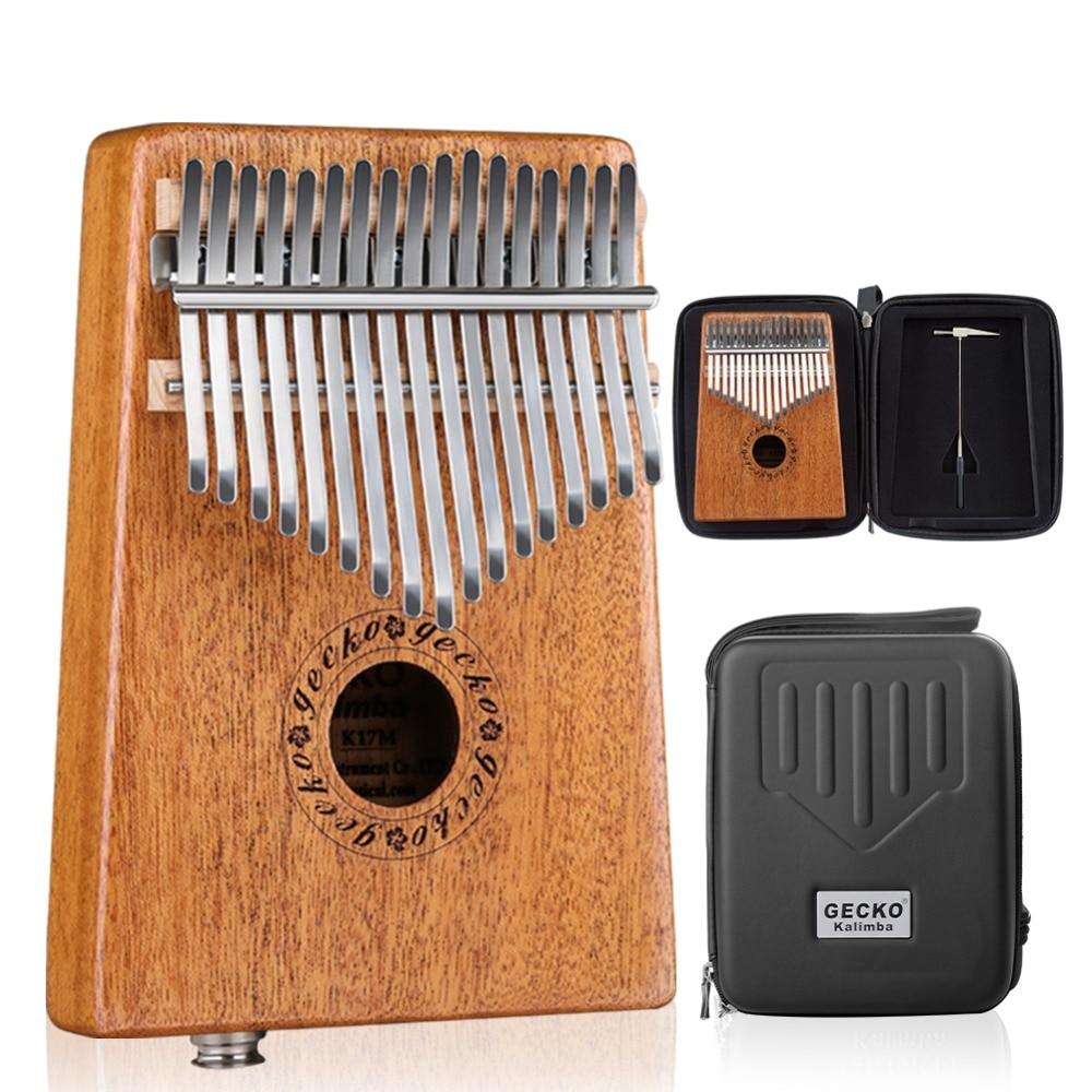 Gecko 17 Toetsen Kalimba Duim Piano Geïmporteerd solid Mahonie Body Muziekinstrument Met EVA Case Leren Boek Tune Hamer K17MEQ
