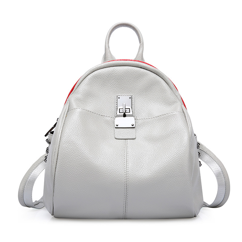 Preppy Style Genuine Leather Brief Grey and Black Student Backpack Soft Cow Leather Zipper Fashion Lady Double Shoulder Bag Gift рюкзак ucon bryce backpack ss17 black grey