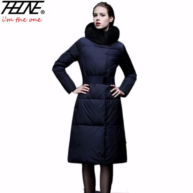2016 Faux Fur Coat Mujeres Abajo Chaqueta Larga Longitud de La Rodilla CINTURÓN Bolsillos Delgados Parka Caliente Outwear Chaquetas de Invierno de Moda Elegante femenino