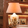 White Ceramics Living Room Table Lamp With Chrysanthemum And Butterfly Design Gold Color Pedestal Fabric Lmapshade