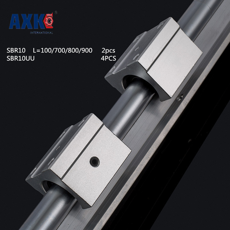 2018 Axk 2pcs Sbr10 100 /700/ 800 /900mm Linear Rail Support With 4pcs Sbr10uu Guide Auminum Bearing Sliding Block Cnc Parts free shipping to argentina 2 pcs hgr25 3000mm and hgw25c 4pcs hiwin from taiwan linear guide rail