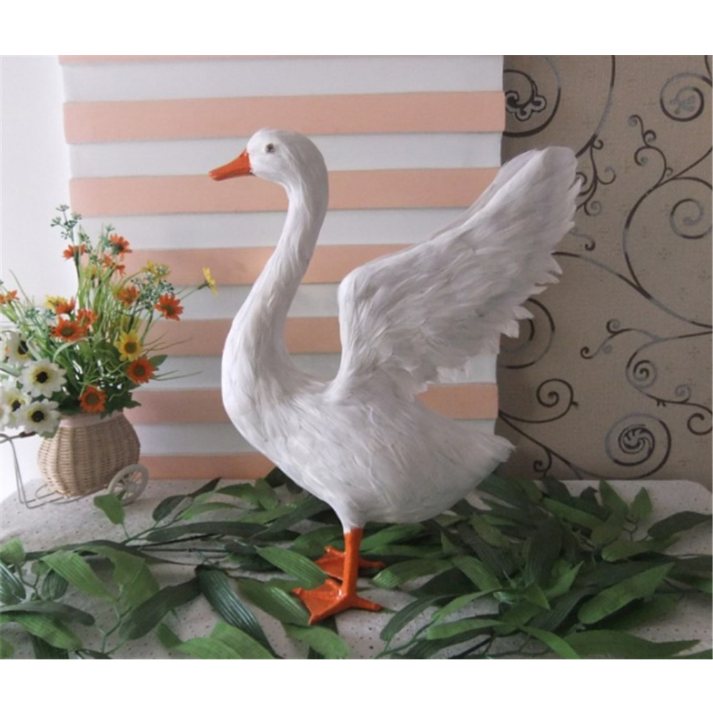 Simulation Animals White Swan Decoration Toy Made of Plastic&Feathers Goose Doll Model Teaching Props Kids Gifts 29x38cm