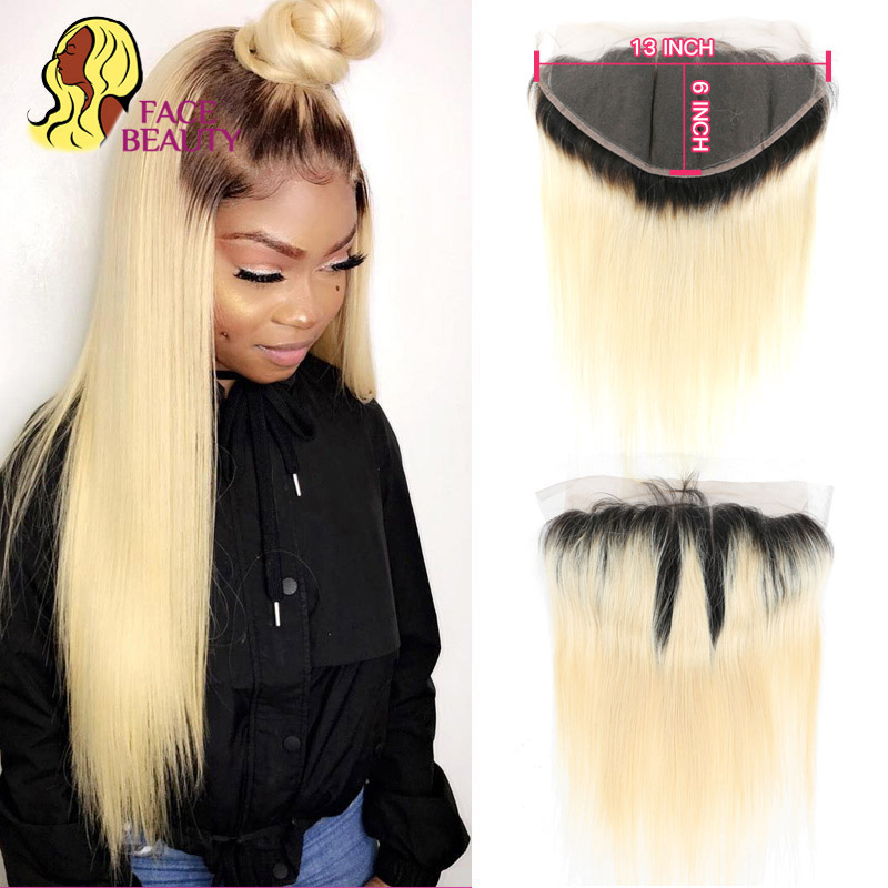 Facebeauty 13x6 Ear To Ear Lace Frontal Closure 1B 613 Ombre Blonde Remy Brazilian Straight Pre