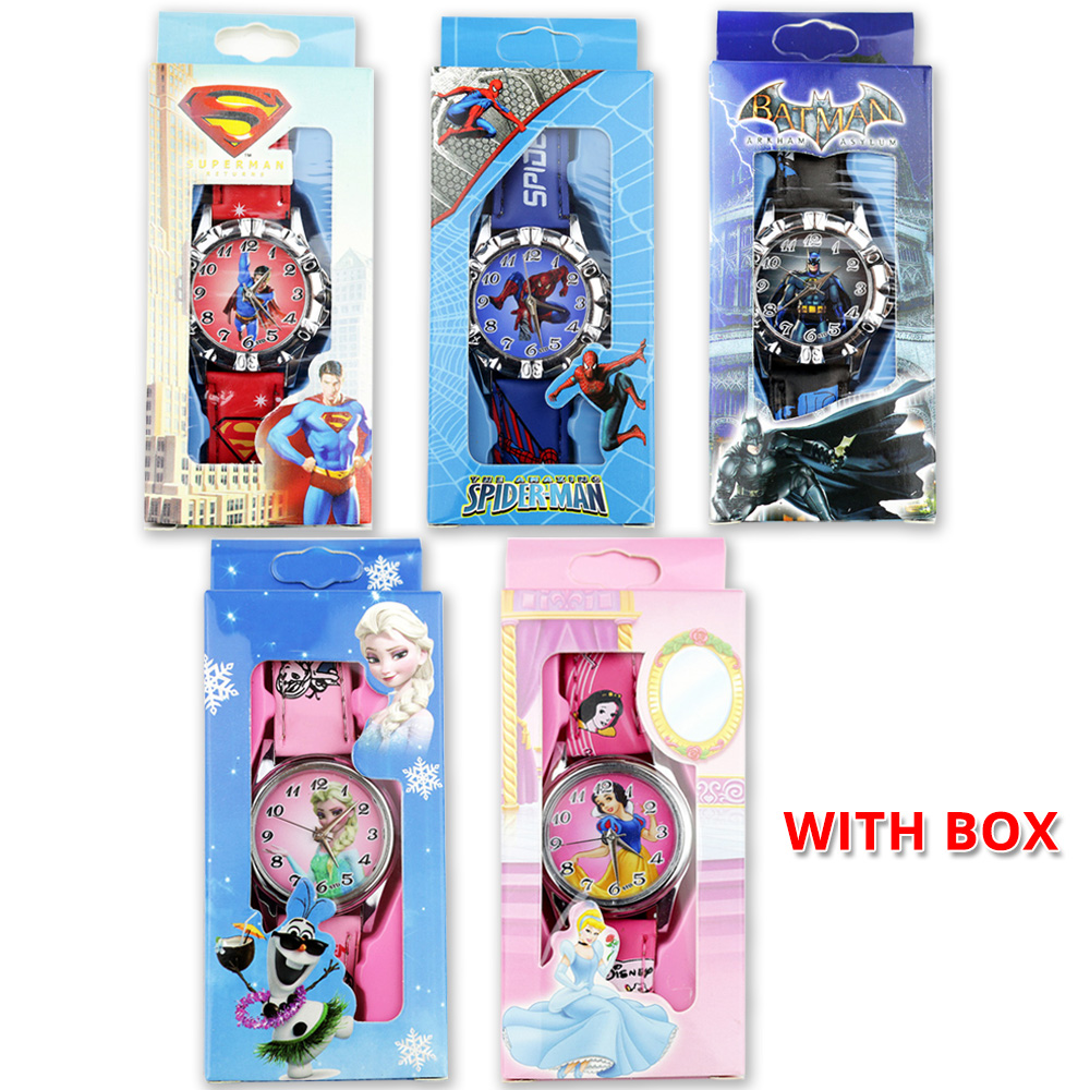 Children Cartoon Watches Spiderman Batman Superman Boys Watch Princess Girls Watch Leather Strap Quartz Clock With Box