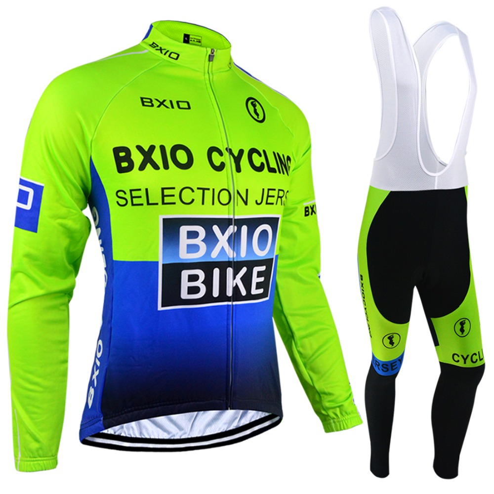 Bxio Autumn Bicycle Clothes Winter Thermal Fleece Cycling Jerseys Ropa Ciclismo Fluo Bike Clothing Mountain Bike Long Sets 004 ckahsbi winter long sleeve men uv protect cycling jerseys suit mountain bike quick dry breathable riding pants new clothing sets