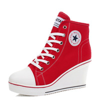 Canvas Shoes Women Wedges Badge High Top Platform Shoes Woman White Black Casual Trainers Elevator Shoe