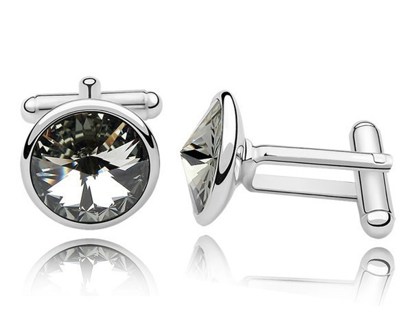 Gray Austrian Crystal Cuff Links