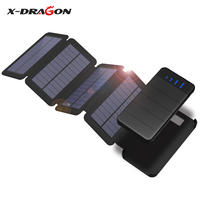 X DRAGON Solar Charger 10000mAh Detachable Solar Power Bank Waterproof External Battery for Outdoor Cell Phones