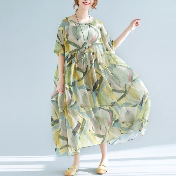 40de3c6a23a6f 2018 Women's Summer Dresses Holiday Style Plus Size Green Summer Clothes 2  pcs Printing Dress Retro Beach Boho Dress AH553-in Dresses from Women's ...