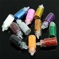 12 Botella/Set MiniNail Glitter Powder Arte Decoración de Metal Brillante Polvo de Acrílico UV Gel Polaco Accesorios Sugerencia DIY Manicura herramientas