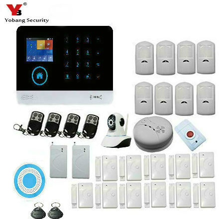 Yobang Security Wireless Home Security WIFI GSM Alarm With indoor Siren IP Camera sensor Smoke Detector APP Remote Control
