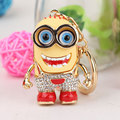 Fashion Zinc Alloy Little Yellow People llavero Minion Keychain Car Crystal Keyring chaveiro Minions Cartoon Key Chain For Bag