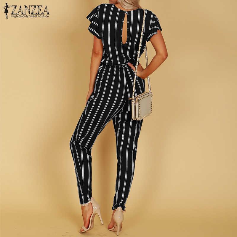 457b3dc6ced6 ... 2018 ZANZEA Elegant Women V Neck Flare Sleeve Striped Jumpsuit Casual  Fashion Summer Work OL Rompers ...