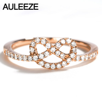 AULEEZE Love Knot Design Natural Real Diamond Anniversary Ring Solid 18k Rose Gold Wedding Rings For Women Fine Jewelry
