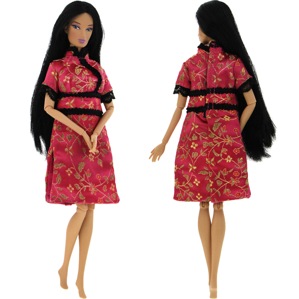 Handmade Lady Party Evening Dress Clothes Accessories For Barbie Doll For Blythe Cheongsam Chinese Traditional Clothing Qipao