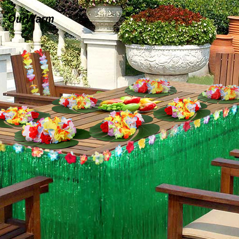 Hawaiian Home Design Ideas: OurWarm Hawaiian Party Grass Table Skirt Artificial Palm