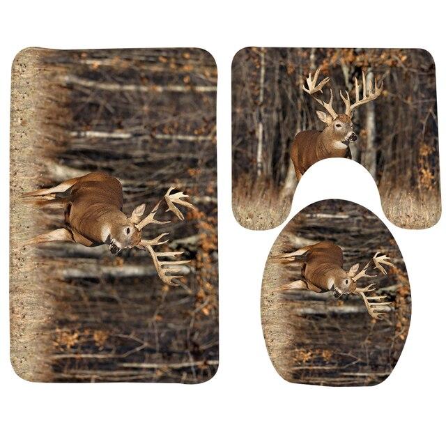 3pcs Bathroom Rug Sets Deer Alone Deer Forest Pattern Bath Mat Foam Non  Slip Shower Mat