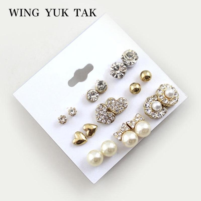 9 pár / szett fülbevaló divatos fényes arany színű szív és kristály és gyöngy és virág Stud fülbevaló aranyos fülbevalók nőknek
