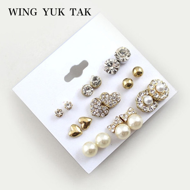 9 Pairs Set Earrings Fashion Elegant Shiny Gold Color Heart Crystal Pearl Flowers Stud Cute Earring Sets