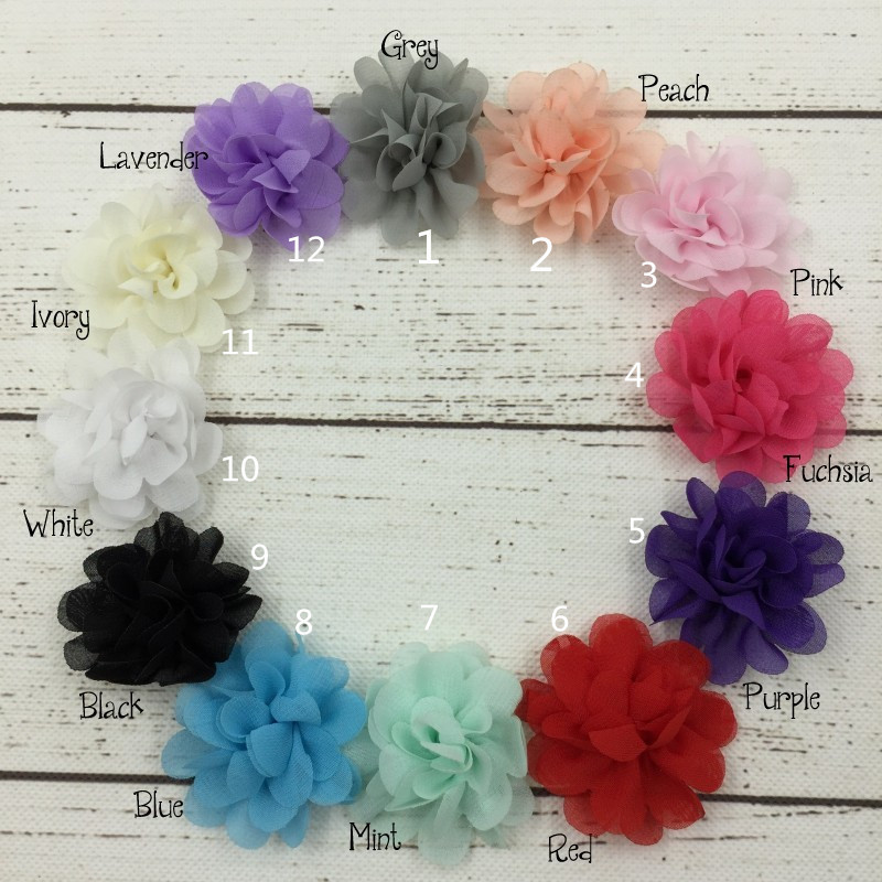 (120pcs/lot)5cm 12 Colors New Hot Chic Blossom Flower For Headband Crochet Chiffon Accessories Princess