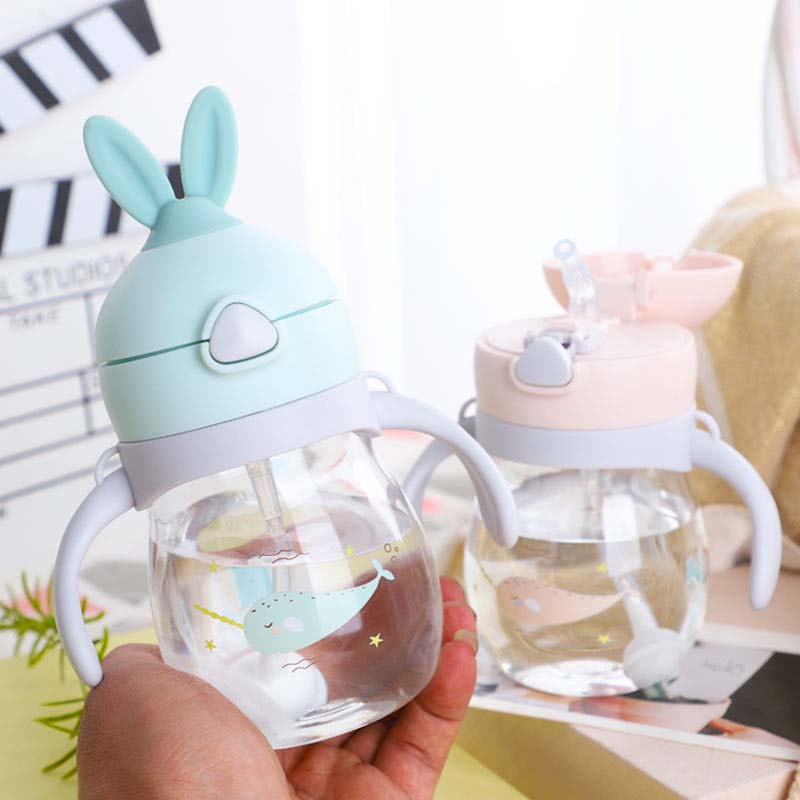 Twin Handle Spill Proof Plastic Sippy Cup Baby Shower Party Gift Blue Puppy Dog