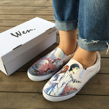 WEN Design Custom Anime Hand Painted Sneakers Steins;Gate Okabe Rintarou Makise Kurisu Unisex Slip on Comfortable Canvas Shoes