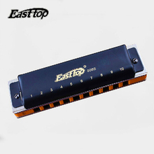 Blue Harmonica 10 Holes Harmonica Diatonic Easttop T008S Musical Instruments Mouth Ogan Professional Playing Blue Harmonica