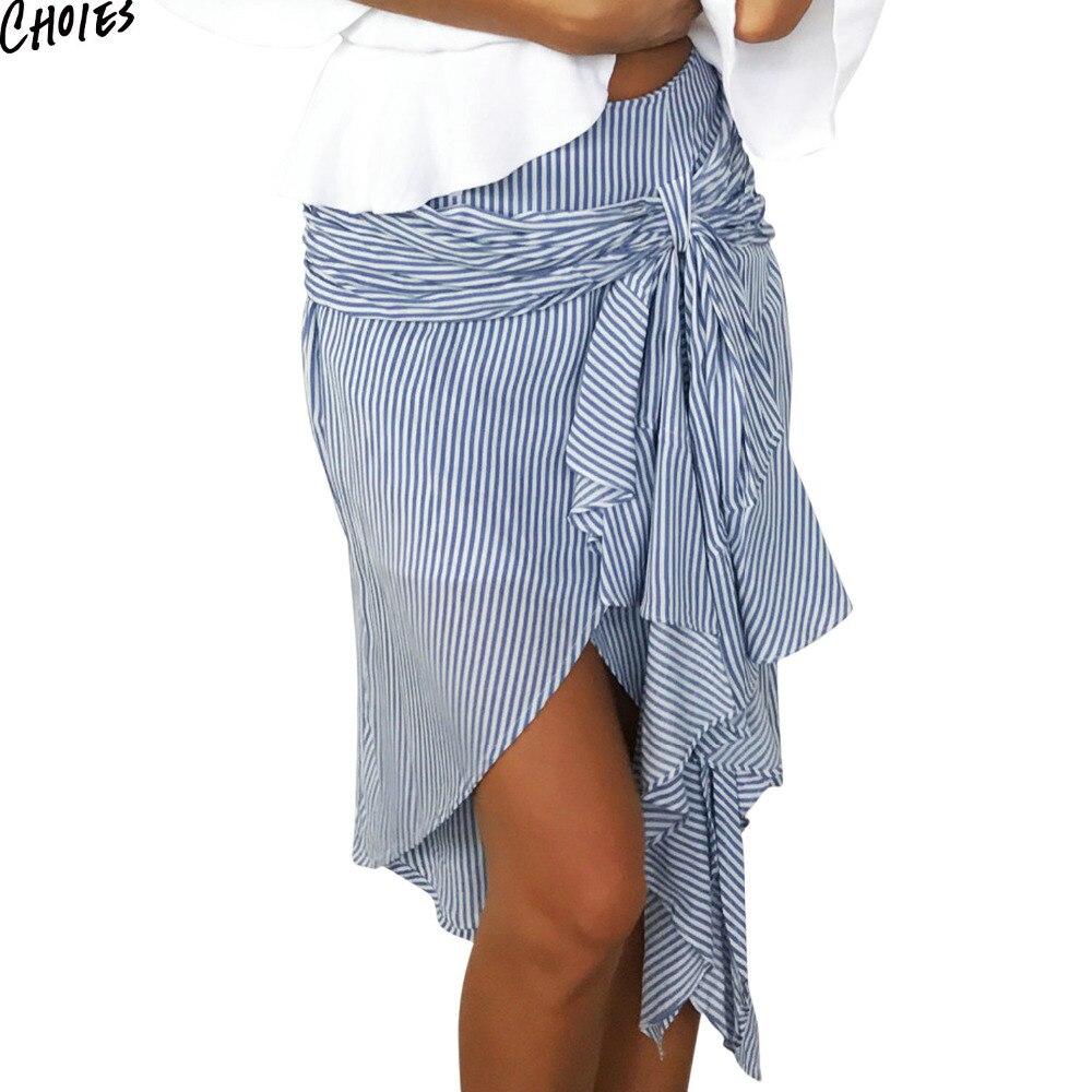 Women 2 Colors Stripe Knot Bow Tie Front Asymmetric High Low Hem Skirt 2017 Summer High Waist Dipped Street Style Skirts