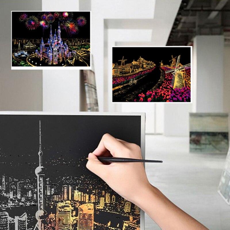 Интересный красочный ночной скретч картина Рисование бумага описать город ночная сцена подарок детям